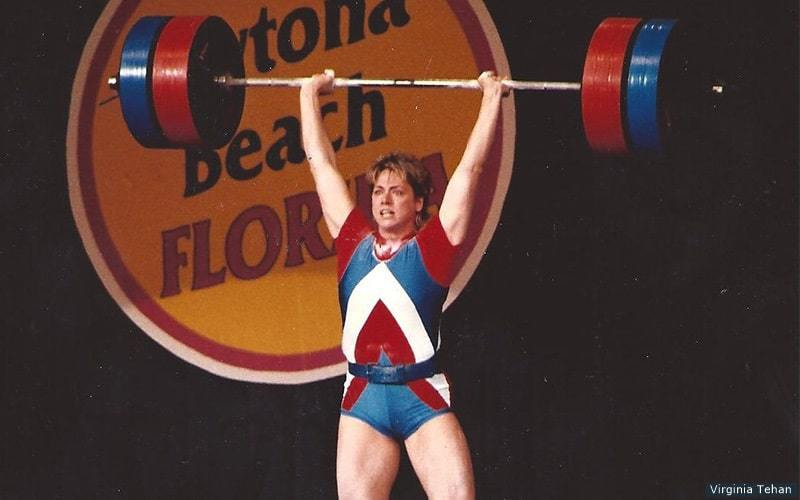 vintage power lifting competition woman